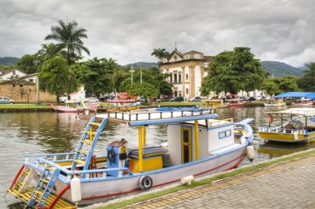 Colourful boats in Parati, Brazil