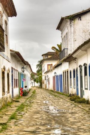 Colonial street in Parati, Brazil