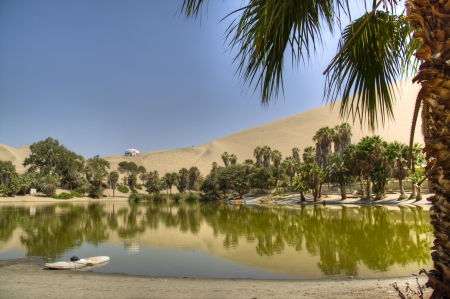 The oasis of Huacachina in the desert of Ica, Peru Stock Photo