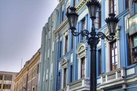 Facades in the city of Lima, Peru photo