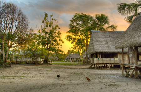 amazon rainforest: Authentic village in the Amazon rain forest near Iquitos, Peru Stock Photo
