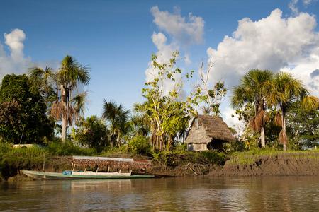 amazon rain forest: Authentic village in the Amazon rain forest near Iquitos, Peru Stock Photo