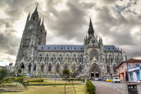 colonial church: The cathedral of Quito in Ecuador