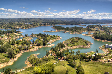 view over the lakes of Guatape near Medellin, Colombia Stock Photo