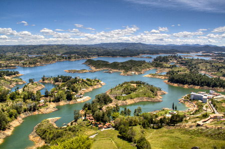 view over the lakes of Guatape near Medellin, Colombia Фото со стока