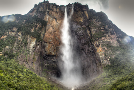 Angel s Falls at the national park of Canaima in Venezuela Фото со стока
