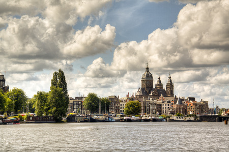 amstel: View over the Amstel river in Amsterdam, Netherlands
