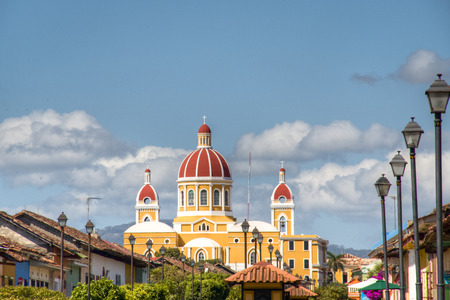 colonial church: The cathedral of Granada, with its red tile roof is the icon of Granada, Nicaragua