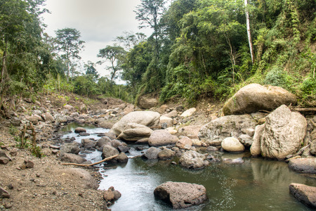 str: River at he Cascada Blanca waterfall near the city of Matagalpa in Nicaragua