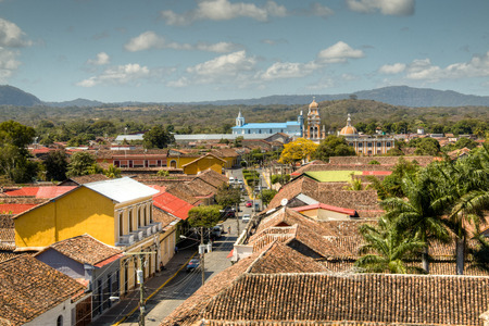 View of the historical centre of Granada, Nicaragua with several cathedrals, churches and the lake in the background