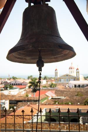 merced: View over the historical centre of Granada seen from Iglesia de la Merced with bell in Granada, Nicaragua