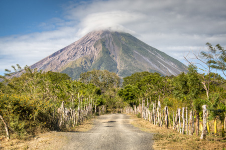 Landscape in the Ometepe island with the Concepcion volcano in the background in lake Nicaragua