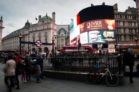 piccadilly: Piccadilly Circus with the billboards and the underground sign in central London, UK