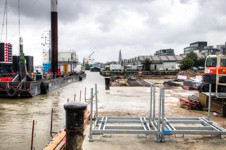 steel works: Construction works at the docks of the Schelde river in Antwerp Belgium