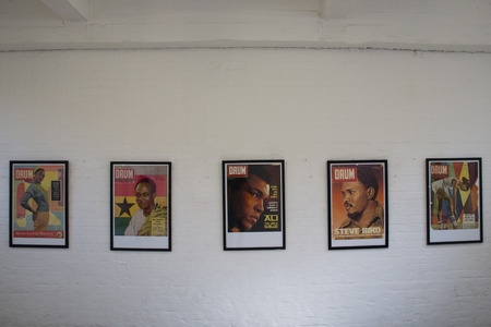 mohammed: Historic covers of Drum magazine in an art gallery in Arts on Main, Maboneng, Johannesburg, South Africa Editorial