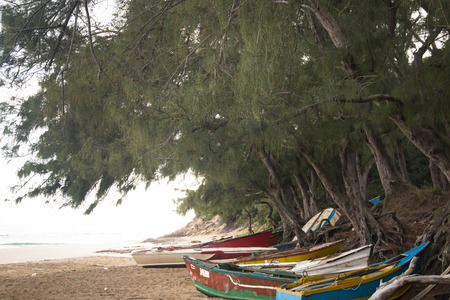 Old rowing boats on the beach of Praia do Tofo in Inhambane, Mozambique