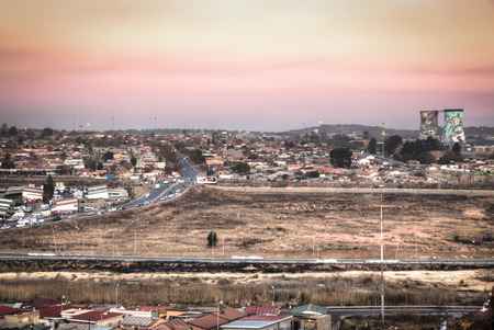 johannesburg: View over Soweto, a township of Johannesburg in South Africa Stock Photo
