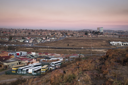 shanty: View over Soweto, a township of Johannesburg in South Africa Stock Photo