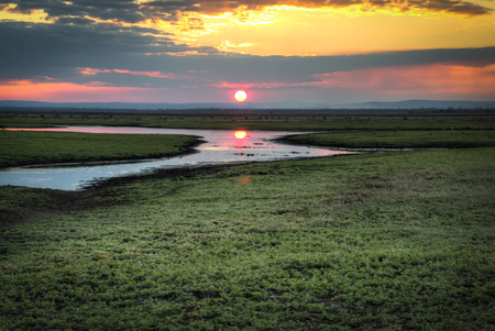 kruger national park: Sunset over the National Park Gorongosa in the center of Mozambique