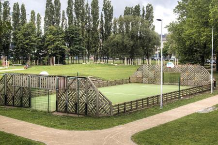 antwerp: An urban soccer field in Antwerp, Belgium