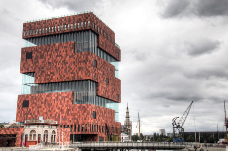 mas: The building of the MAS museum near the port of Antwerp, Belgium
