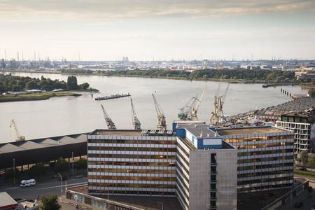 mas: View over the river Scheldt in Antwerp, Belgium from the roof of the MAS museum