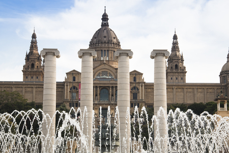 barsa: Placa de Espana with the fountain and on top of the stairs the magnificent Nation Museum in Barcelona in Spain