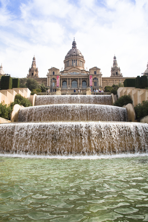 Placa de Espana with the fountain and on top of the stairs the magnificent Nation Museum in Barcelona in Spain