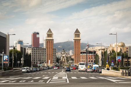 barsa: BARCELONA, SPAIN  CIRCA OCTOBER 2015: View over Placa de Espana from the Montjuic mountain in Barcelona in Spain Editorial