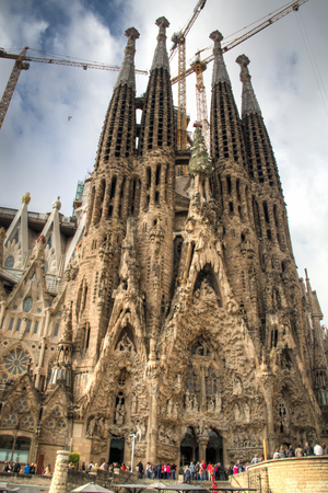 the famous unfinished sagrada familia cathedral designed by gaudi