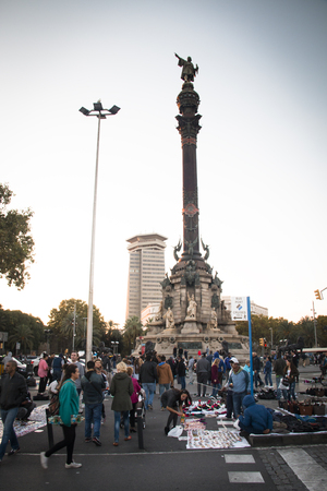 ramblas: BARCELONA, SPAIN  CIRCA OCTOBER 2015: View over the Ramblas with the statue of Columbus in the background in Barcelona in Spain Editorial