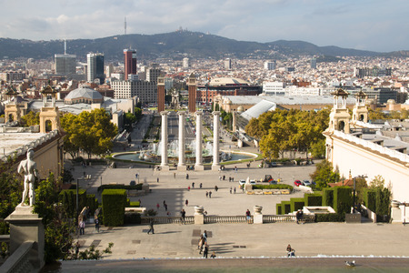 barsa: View over Placa de Espana from the Montjuic mountain in Barcelona in Spain
