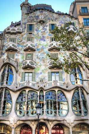 The famous casa Battlo building designed by Gaudi in Barcelona, Spain