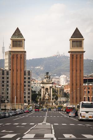 spain: BARCELONA, SPAIN  CIRCA OCTOBER 2015: View over Placa de Espana from the Montjuic mountain in Barcelona in Spain Editorial