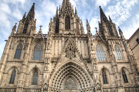 built in: The Gothic Catholic Cathedral in Barcelona, Spain. Built in 1298 Editorial