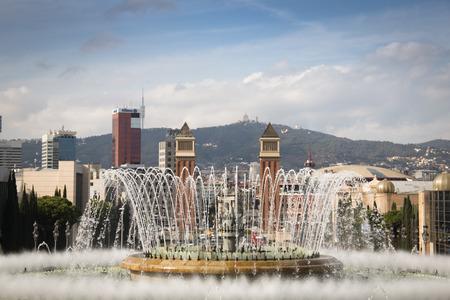 montjuic: View over Placa de Espana from the Montjuic mountain in Barcelona in Spain