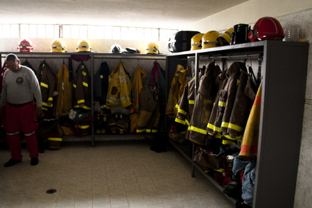 readiness: Dressing room of the firemen at the fire department of Cali, Colombia
