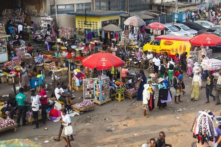 Ghana: ACCRA, GHANA - JANUARY 2016: Outdoor goods stalls at Kaneshi market in Accra, Ghana