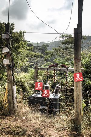 deadly danger sign: Electrical setup with danger signs in Amedzofe, Volta Region, Ghana