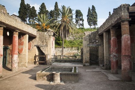 an excavation: The ruins of Herculaneum excavation in Ercolaono near Naples, Italy