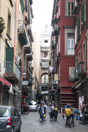 NAPLES, ITALY - MAY 2016: Typical street in the center of Naples in Italy