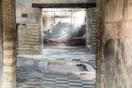 italian fresco: The ruins of Herculaneum excavation in Ercolaono near Naples, Italy