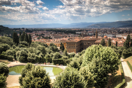 View over the famous Giardino di Boboli garden with a big pond in the middle  in Florence, Italy