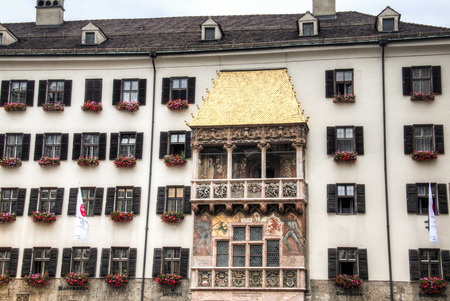 architectural architectonic: Facade with the Goldenes Dachl, known for its typical architecture in the center of Innsbruck, Austria