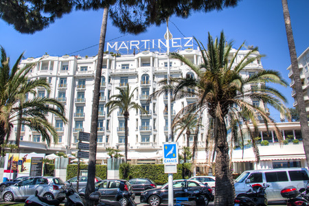 french riviera: CANNES, FRANCE - JULY 2016: The famous and expensive Martinez hotel in Cannes at the French Riviera