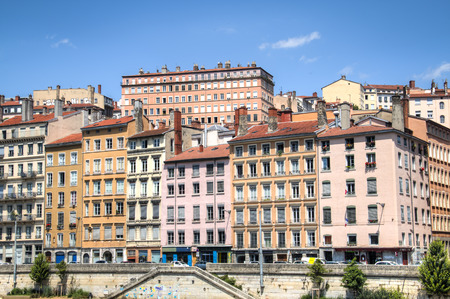sone: Colorful houses on the banks of the Saone river in Lyon, France Editorial