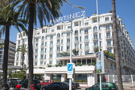 CANNES, FRANCE - JULY 2016: The famous and expensive Martinez hotel in Cannes at the French Riviera