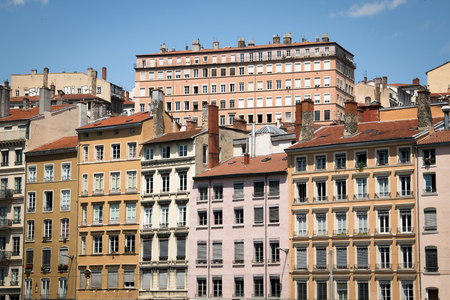 sone: Typical facades of the houses in Lyon, France on the banks of the Saone river