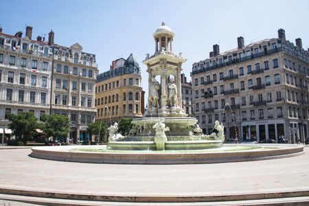 renewed: LYON, FRANCE - JULY 2016: The impressive fountain on Jacobins square in Lyon, France Editorial