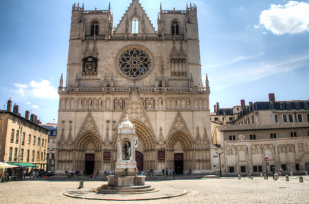 LYON, FRANCE - JULY 2016: Public square in Lyon, France with the cathedral of Saint John
